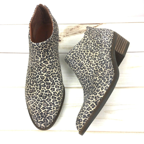 14d61c13be52 Lucky Brand Shoes - Lucky Brand Animal Print Booties Ankle Boots Sz 8